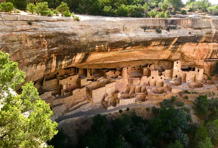 A far view of a cliff dwelling in Mesa Verde National Park