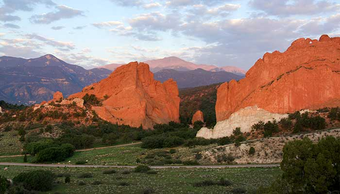 Garden of the Gods in front of Pikes Peak in Colorado Springs