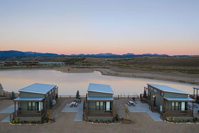 Cabins overlooking the lake at River Run RV Resort near Granby, Colorado