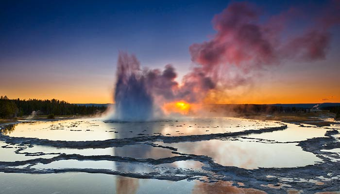 Great Fountain Geyser at Sunset in Yellowstone National Park